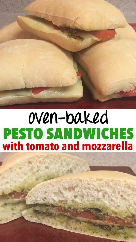 oven baked pesto sandwiches with tomato and mozzarella