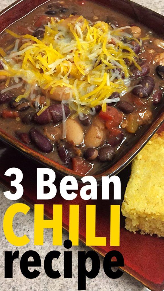 three bean chili, family meal, easy dinner