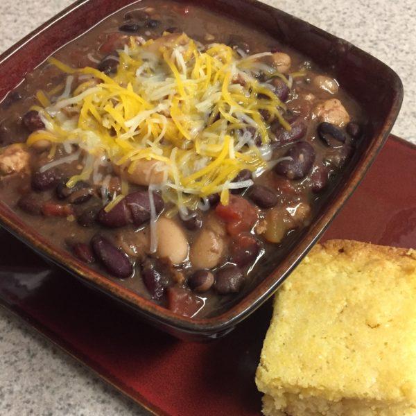 three bean chili recipe, family meals, easy dinner